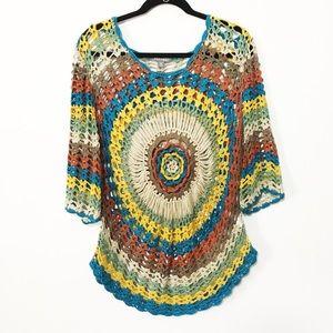 Crocheted festival top summer beach cover up